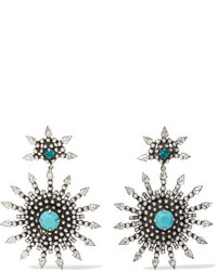 Dannijo Delano Oxidized Silver Plated Swarovski Crystal And Turquoise Earrings