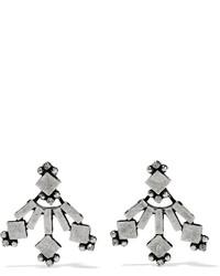 Dannijo Drava Oxidized Silver Plated Swarovski Crystal Earrings One Size