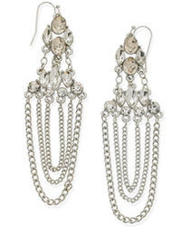 GUESS Earrings Silver Tone Crystal And Chain Chandelier Earrings