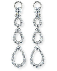 FANTASIA By Deserio Three Tier Open Cz Crystal Drop Earrings