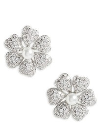 Nina Flower Crystal Imitation Pearl Stud Earrings