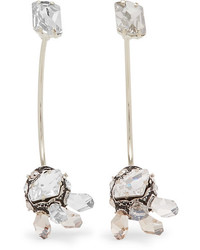 Lanvin Gold Tone Pewter And Swarovski Crystal Earrings Silver