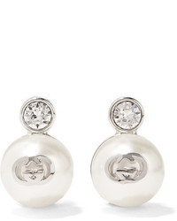 Gucci Silver Plated Swarovski Crystal And Faux Pearl Clip Earrings