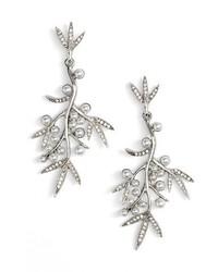 Oscar de la Renta Imitation Pearl Crystal Drop Earrings