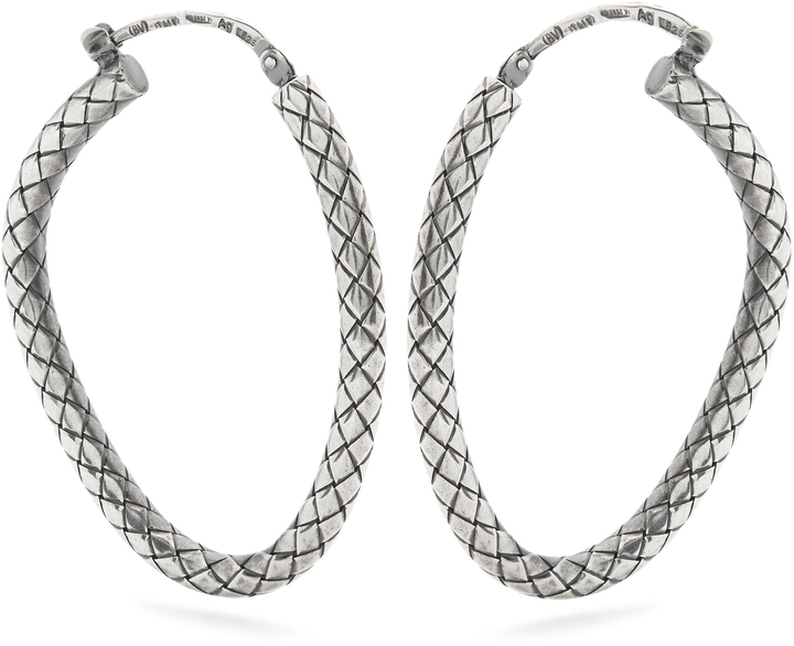 Bottega Veneta Intrecciato Engraved Hoop Earrings