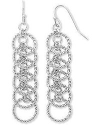 jcpenney Sensitive Ears 6 Hoop Rope Textured Silver Tone Chandelier Earrings
