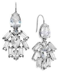 Juicy Couture Earrings Silver Tone Crystal Cluster Chandelier Earrings