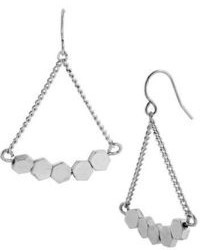 Kenneth Cole New York Silver Tone Geometric Chandelier Earrings