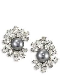 Kenneth Jay Lane Crystal Faux Pearl Clip On Earrings