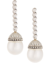 Lagos Luna Diamond Pearl Drop Earrings