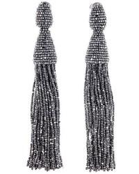 Oscar de la Renta Long Tassel Drop Clip Earrings