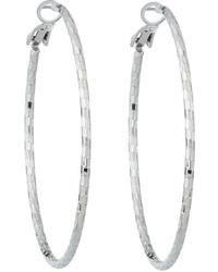 Lydell NYC Textured Hoop Earrings Silver