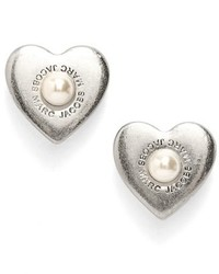 Marc by Marc Jacobs Marc Jacobs Faux Pearl Heart Stud Earrings
