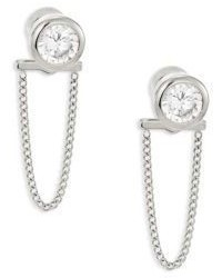 Michael Kors Michl Kors Brilliance Crystal Chain Front Back Stud Earringssilvertone