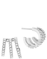 Michael Kors Michl Kors Modern Brilliance Crystal Pave Huggie Earringssilvertone