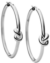 Michael Kors Michl Kors Silvertone Knotted Hoop Earrings 025 In