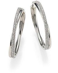 Michael Kors Michl Kors Brilliance Statet Pave Crossover Silvertone Hoop Earrings175