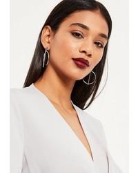 Missguided Silver Bar Hoop Earrings