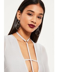 Missguided Silver Double Hoop Earrings