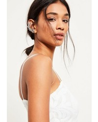 Missguided Silver Jewelled Ear Cuff