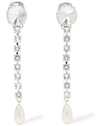 Miu Miu Silver Plated Swarovski Crystal And Faux Pearl Clip Earrings One Size