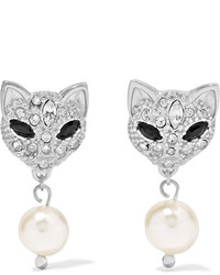 Miu Miu Silver Swarovski Crystal And Faux Pearl Earrings One Size