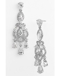 Nadri Legacy Crystal Chandelier Earrings Silver Clear