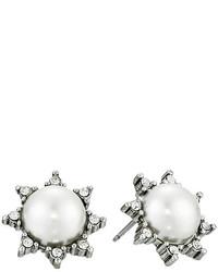Oscar de la Renta Pearl Filigree Stud P Earrings