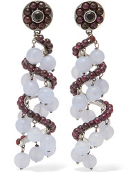 Bottega Veneta Oxidized Silver Chalcedony And Cubic Zirconia Earrings