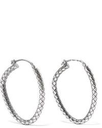 Bottega Veneta Oxidized Sterling Silver Hoop Earrings One Size