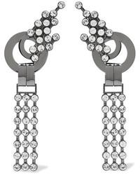 Marni Palladium Tone Crystal Clip Earrings Silver