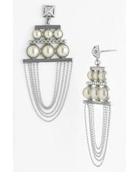 Rebecca Minkoff Pearl Stud Chandelier Earrings