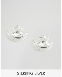 Reclaimed Vintage Sterling Silver Star Moon Studs