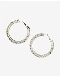 Express Rhinestone Textured Hoop Earrings