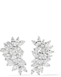 Kenneth Jay Lane Rhodium Plated Cubic Zirconia Earrings Silver