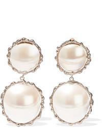 Rosantica Carducci Palladium Tone Mother Of Pearl Clip Earrings Silver