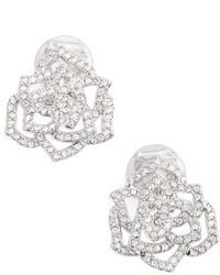 Nadri Rose Clip On Stud Earrings