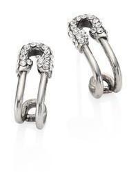 Marc Jacobs Safety Pin Crystal Hoop Earrings