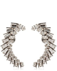 Saint Laurent Cocktail Crystal Brass Earrings