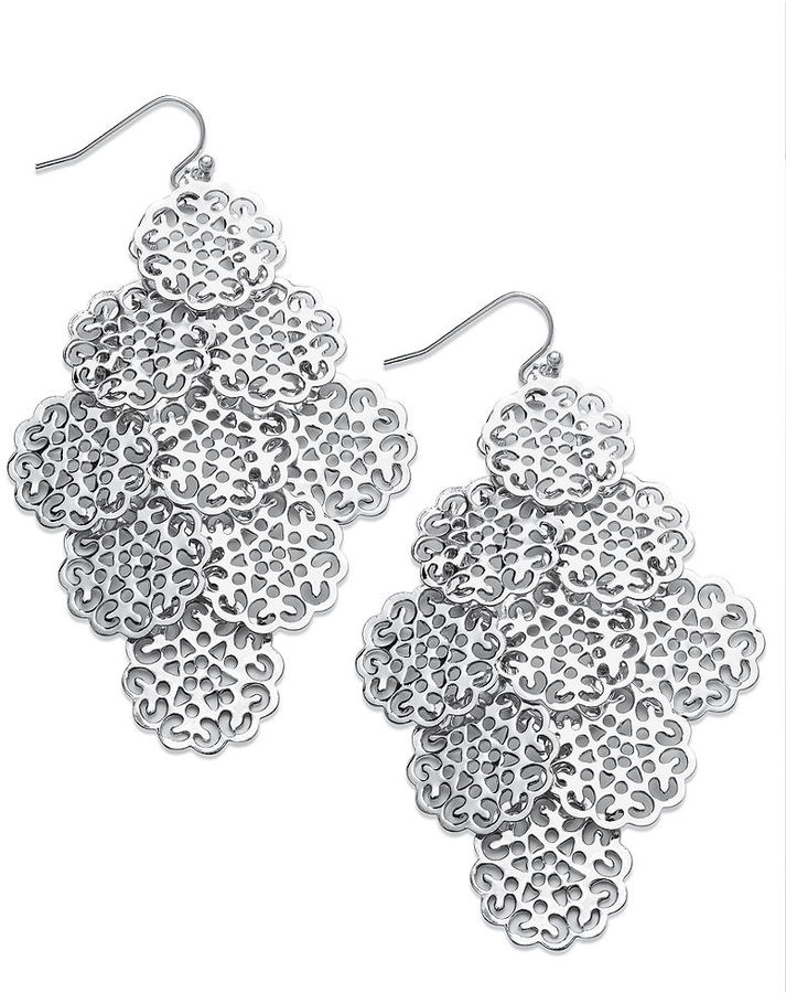 Kate spade sequin earrings silver tone circle filigree chandelier kate spade sequin earrings silver tone circle filigree chandelier earrings mozeypictures Image collections