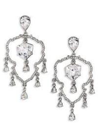 Oscar de la Renta Shield Crystal Chandelier Clip On Earrings