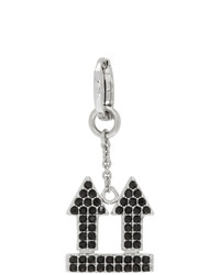 Off-White Silver And Black Crystal Arrow Single Earring