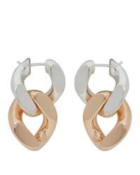 Bottega Veneta Silver And Pink Bicolor Chain Earrings