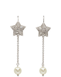 Miu Miu Silver And White Crystal Star Long Earrings