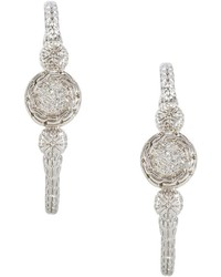 John Hardy Silver Carved Chain Diamond Pave Hoop Earrings