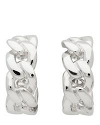 Maison Margiela Silver Chain Half Hoop Earrings