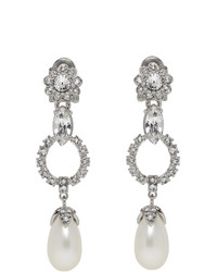 Miu Miu Silver Crystal And Pearl Clip On Earrings