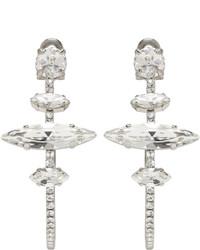Miu Miu Silver Crystal Hoop Clip On Earrings