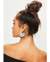 Missguided Silver Hammered Metal Hoop Earrings