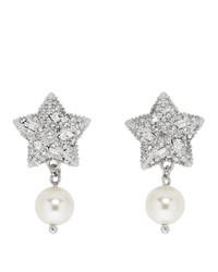 Miu Miu Silver Pearl And Crystal Star Earrings